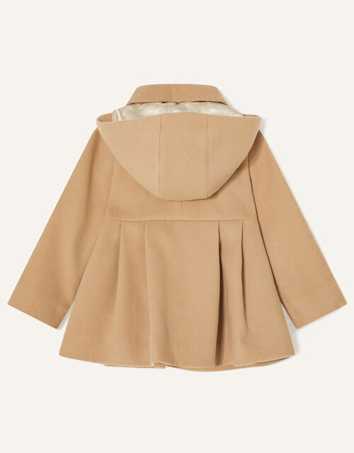 Baby Corsage Hooded Swing Coat, Camel (CAMEL), large