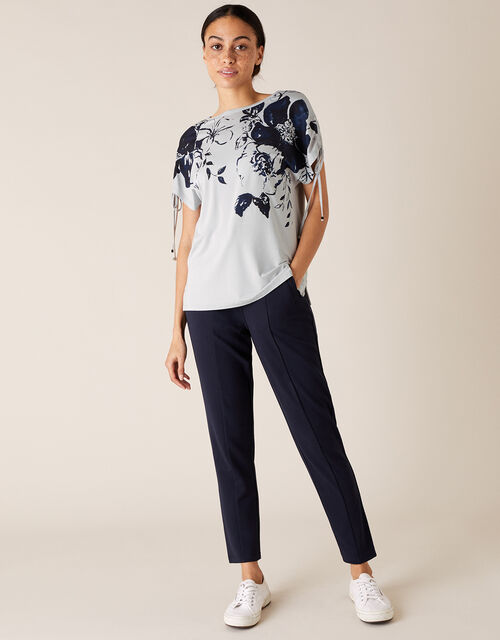 Pia Floral Lounge T-Shirt with LENZING™ ECOVERO™, Grey (GREY), large