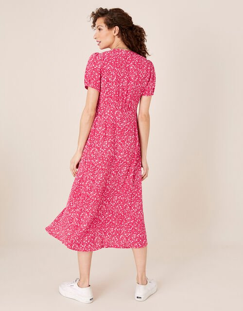 Printed Tea Dress in Sustainable Viscose, Pink (PINK), large