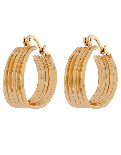 Chunky Layered Mini Hoop Earrings, , large
