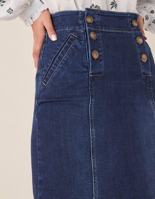 Slim Denim Midi Skirt, Blue (BLUE), large