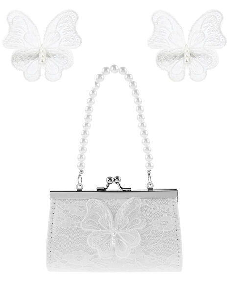 Pearly Lace Butterfly Bag and Clip Set, , large