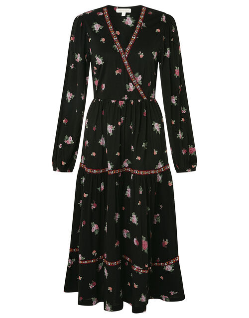 Embroidered Trim Floral Tiered Dress, Black (BLACK), large
