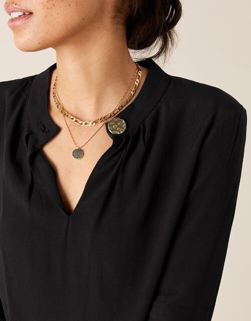 Gold Button Blouse with LENZING™ ECOVERO™, Black (BLACK), large