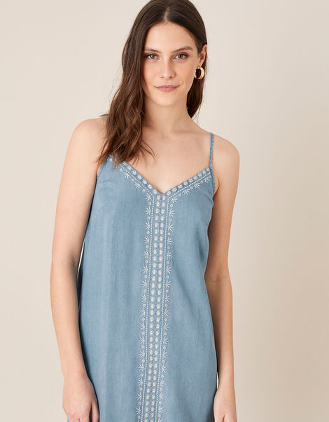 Embroidered Slip Dress in LENZING™ TENCEL™ Blue, Blue (DENIM BLUE), large