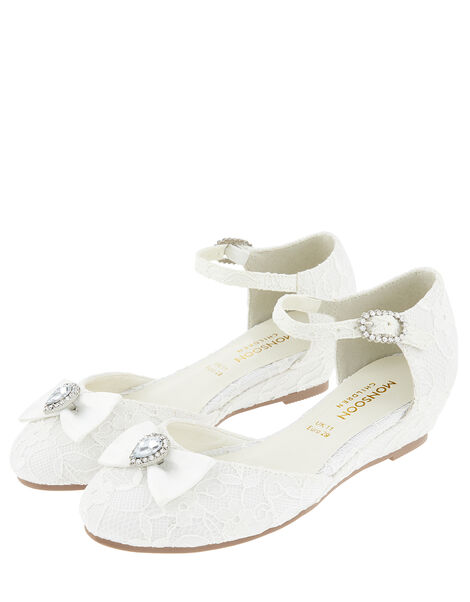 Renee Bridal Crystal Lace Wedges Ivory, Ivory (IVORY), large