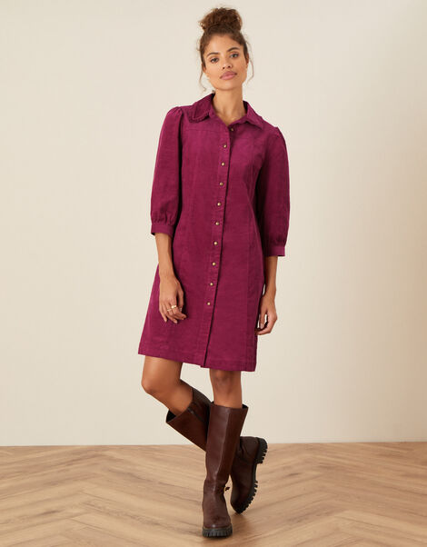 Eliza Collared Cord Dress Red, Red (BERRY), large