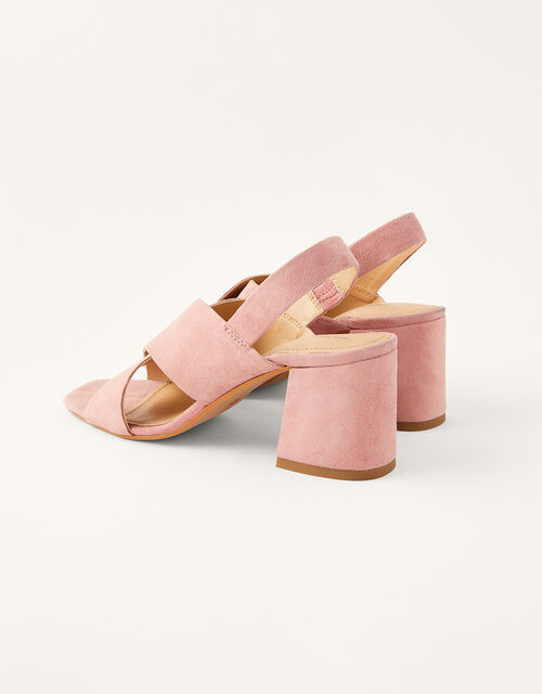 Suede Cross-Over Block Heel Sandals, Pink (BLUSH), large