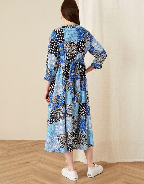 Patchwork Print Midi Dress Blue, Blue (BLUE), large