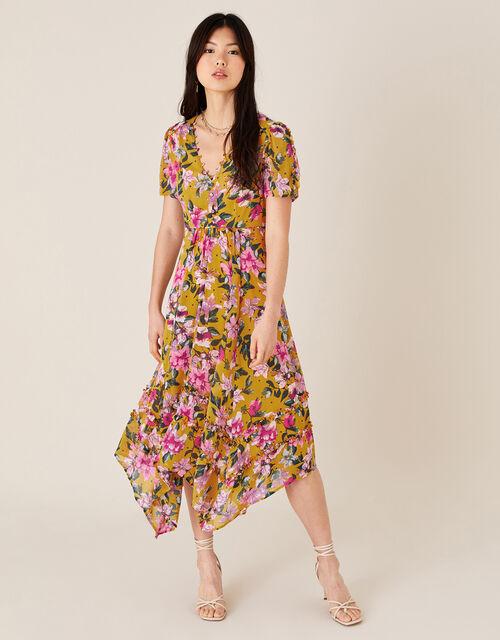 Rachel Floral Hanky Hem Dress, Yellow (OCHRE), large