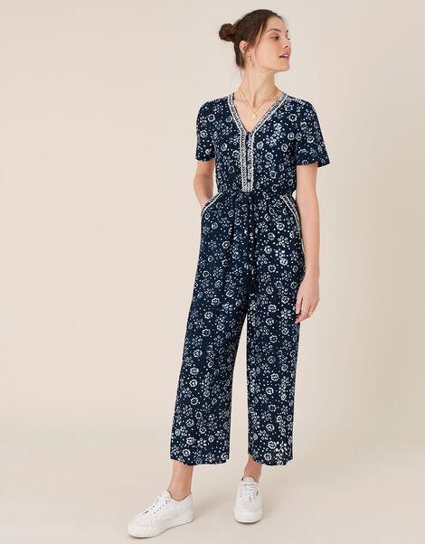 ARTISAN STUDIO Batik Print Jumpsuit Blue, Blue (NAVY), large