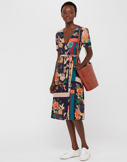 Maddy Floral Button Midi Dress, Navy, large