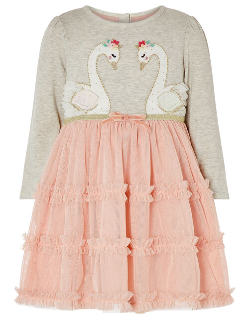 Baby Swan Ruffle Disco Dress, Grey (GREY), large