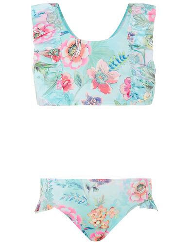 Floral Print Bikini Set Blue, Blue (TURQUOISE), large