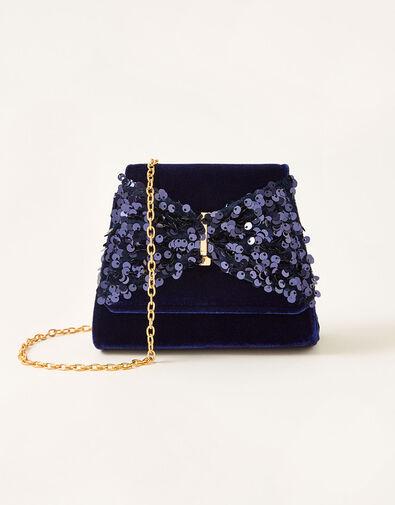 Sequin Bow Velvet Bag, , large
