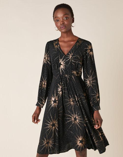 Star Foil Print Midi Dress, Black (BLACK), large