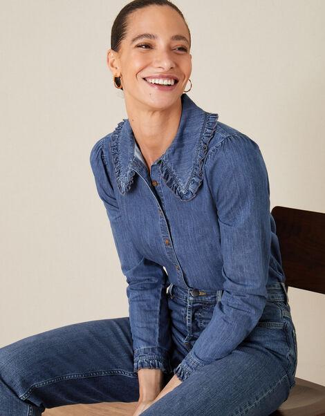 Frill Collar Denim Shirt Blue, Blue (DENIM BLUE), large