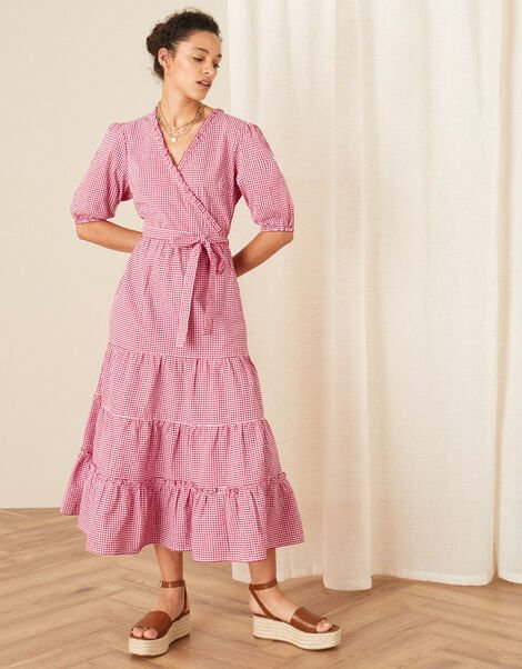 Gingham Wrap Dress Red, Red (RED), large
