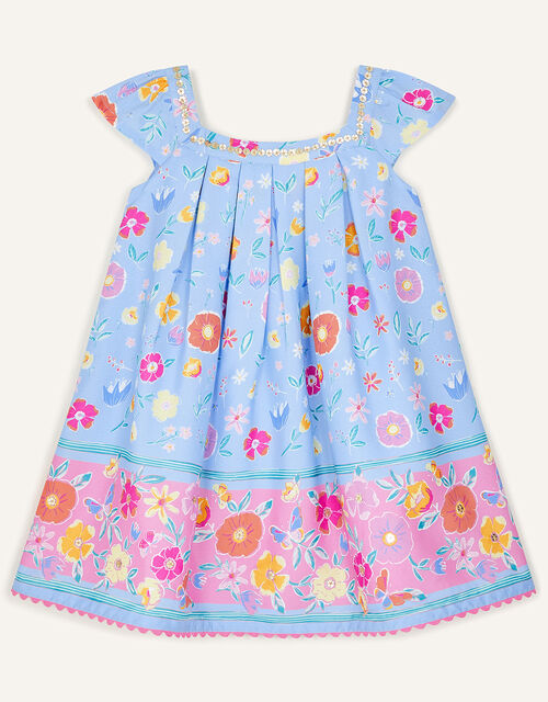 Baby Sequin Neck Floral Dress, Blue (BLUE), large