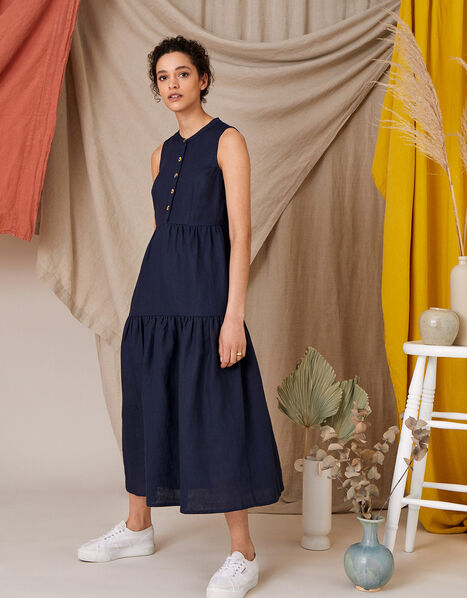 Tiered Midi Dress in Pure Linen Blue, Blue (NAVY), large