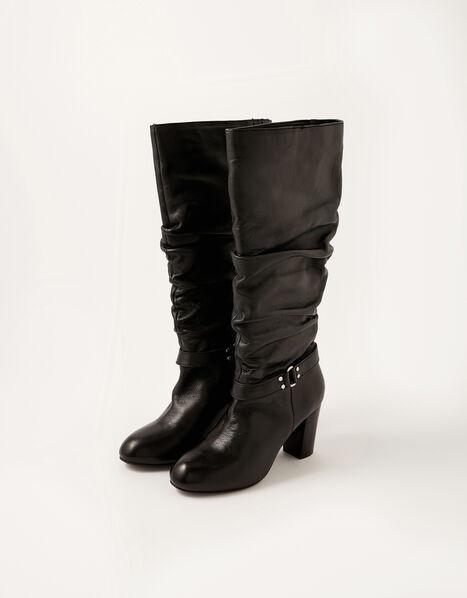 Belle Buckle Slouch Leather Boots Black, Black (BLACK), large