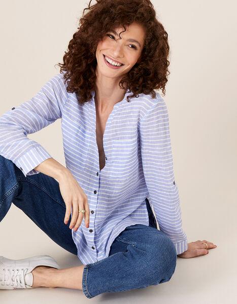 Stacy Stripe Shirt in Linen Blend Blue, Blue (BLUE), large
