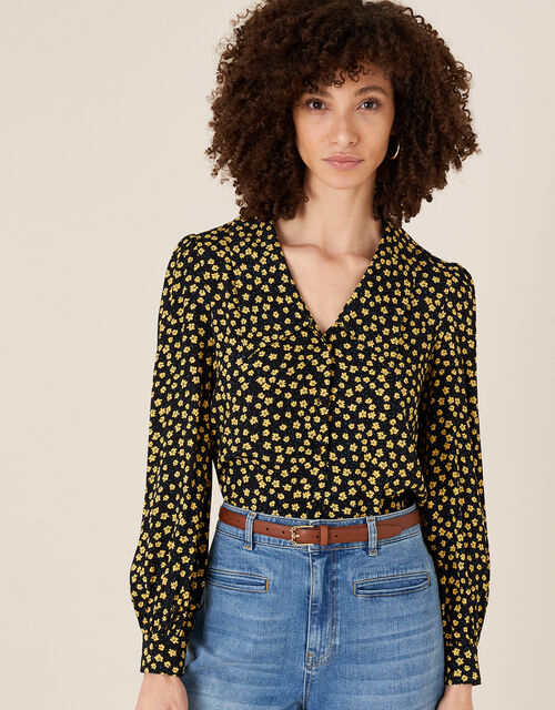 Floral Print Blouse with LENZING™ ECOVERO™, Black (BLACK), large