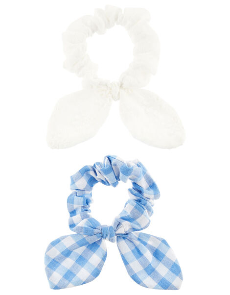 Broderie Gingham Scrunchie Set, , large