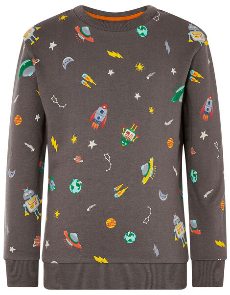 Space Rocket Sweatshirt Grey, Grey (CHARCOAL), large