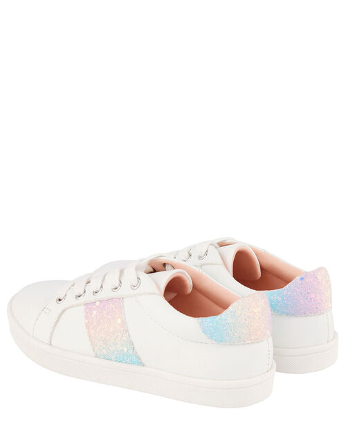 Pastel Rainbow Glitter Trainers, Ivory (IVORY), large