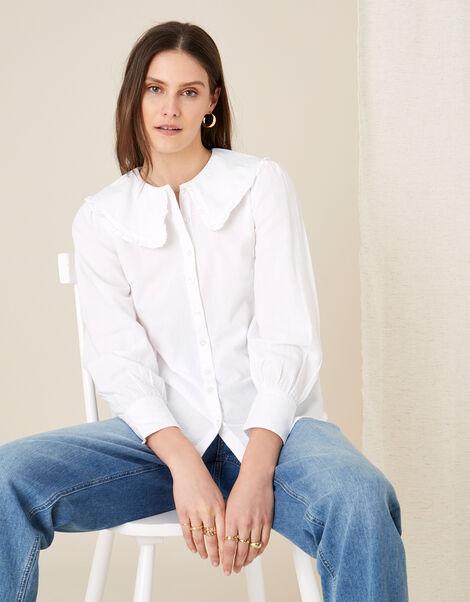 Dobby Collar Blouse  White, White (WHITE), large