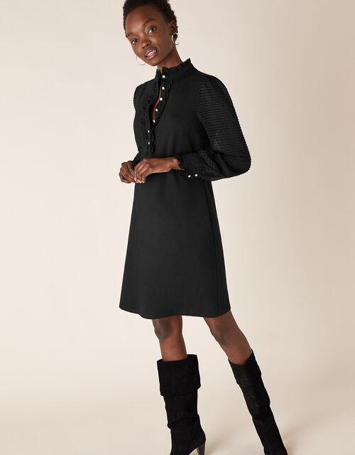 Jersey-Ponte Mix Short Dress, Black (BLACK), large