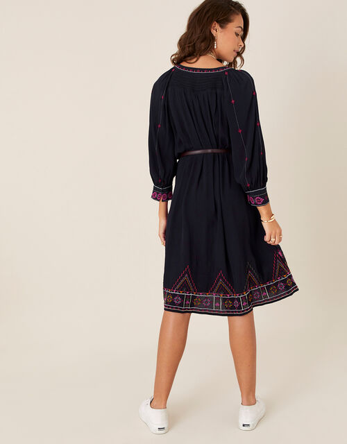 Embroidered Tunic Dress in LENZING™ ECOVERO™, Blue (NAVY), large