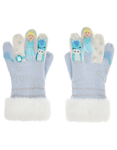 Frosted Princess Knit Gloves Blue, Blue (BLUE), large