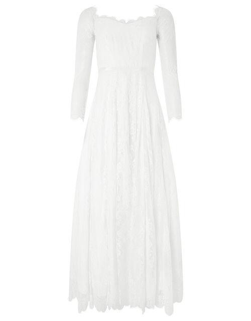 Cecily Bridal Bardot Lace Maxi Dress, Ivory (IVORY), large