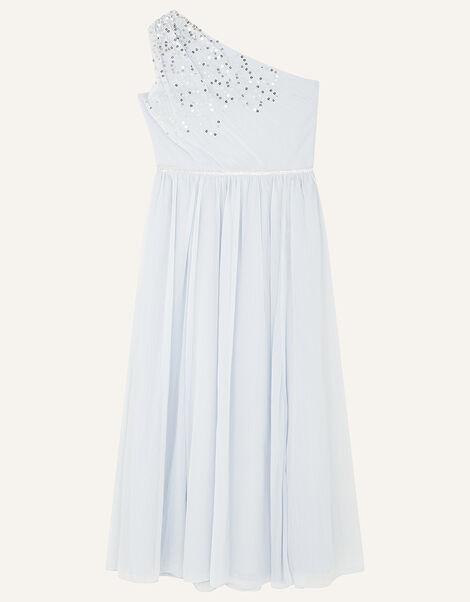Sequin One-Shoulder Prom Dress Blue, Blue (PALE BLUE), large