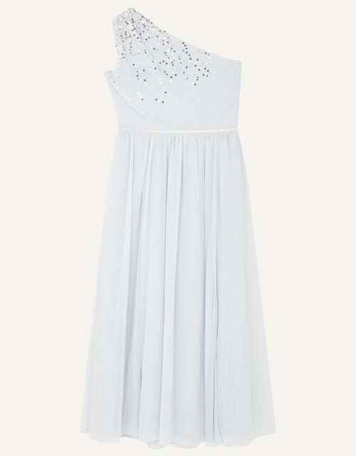Sequin One-Shoulder Prom Dress, Blue (PALE BLUE), large