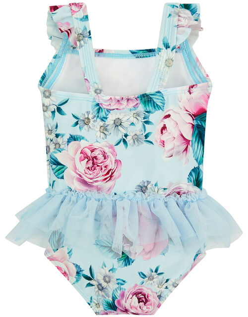 Baby Floral Skirted Swimsuit, Blue (BLUE), large