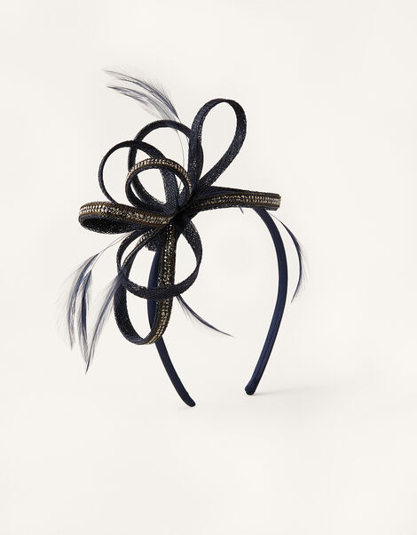 Embellished Loops Fascinator Headband Blue, Blue (NAVY), large