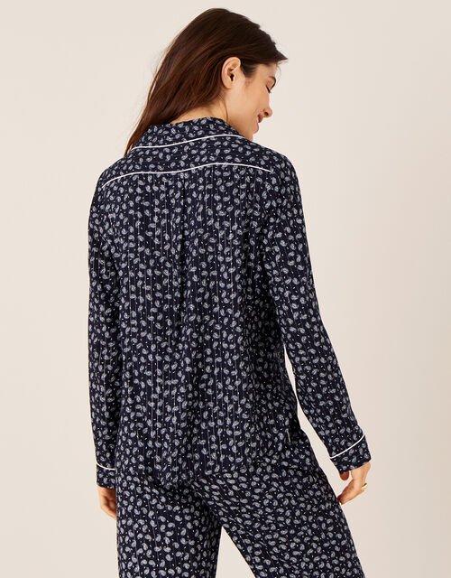 Paisley and Pinstripe Pyjama Shirt, Blue (NAVY), large