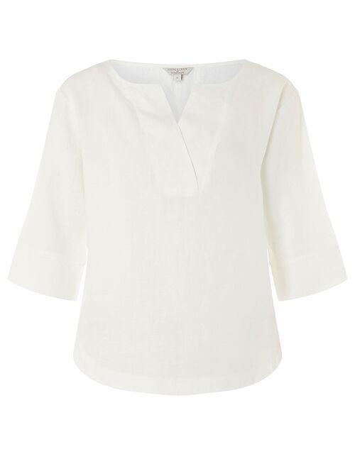 Daisy Plain T-Shirt in Pure Linen, White (WHITE), large