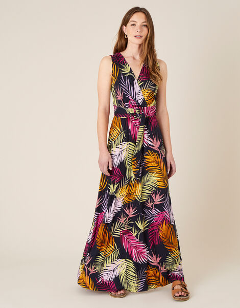 Arni Palm Print Jersey Maxi Dress Black, Black (BLACK), large