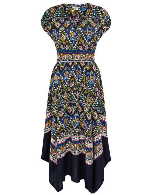 Contrast Print Hanky Hem Dress, Multi (MULTI), large