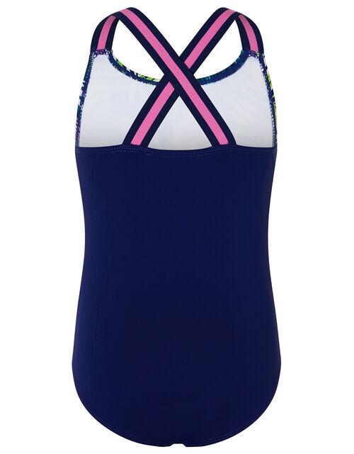 Zebra Palm Print Swimsuit , Blue (NAVY), large