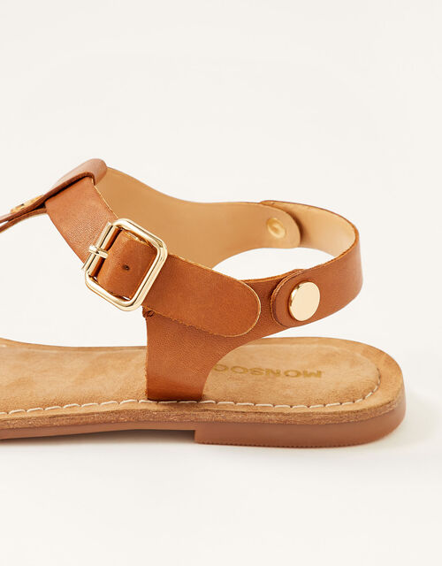Layla Leather Toe-Post Sandals, Tan (TAN), large