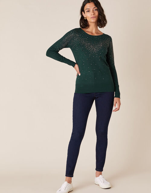 Hotfix Gem Knit Jumper with Sustainable Viscose, Green (DARK GREEN), large