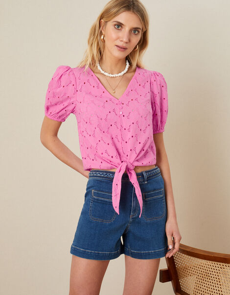Tie Front Broderie Top Pink, Pink (PINK), large