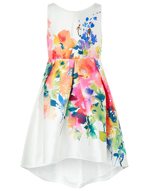 Rainbow Floral Occasion Dress, Ivory (IVORY), large
