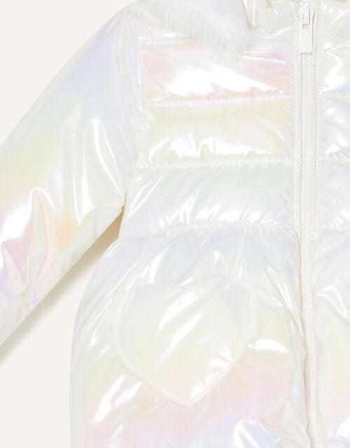 Baby Heart Pocket Holographic Coat, Ivory (IVORY), large