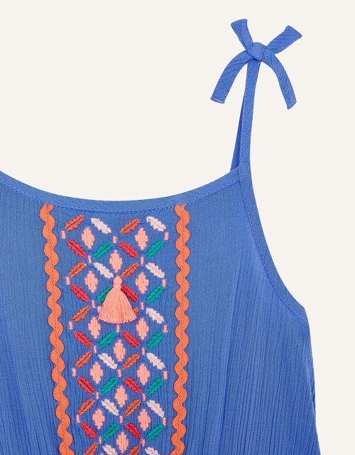 Embroidered Tassel Jumpsuit, Blue (BLUE), large